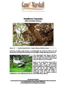 Southern Tanzania Safari and beach itinerary