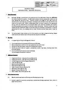 Southport College Admissions Policy September 2016 Entry