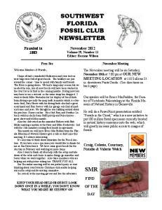 SOUTHWEST FLORIDA FOSSIL CLUB NEWSLETTER