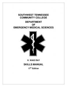 SOUTHWEST TENNESSEE COMMUNITY COLLEGE DEPARTMENT OF EMERGENCY MEDICAL SCIENCES