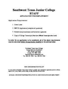 Southwest Texas Junior College STAFF APPLICATION FOR EMPLOYMENT