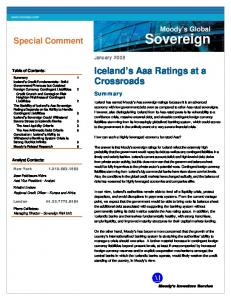 Sovereign. Iceland s Aaa Ratings at a Crossroads. Special Comment. Moody s Global. Summary. January Table of Contents: Analyst Contacts: