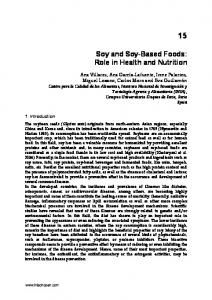 Soy and Soy-Based Foods: Role in Health and Nutrition
