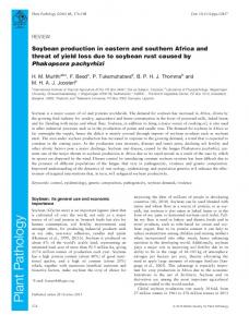 Soybean production in eastern and southern Africa and threat of yield loss due to soybean rust caused by Phakopsora pachyrhizi