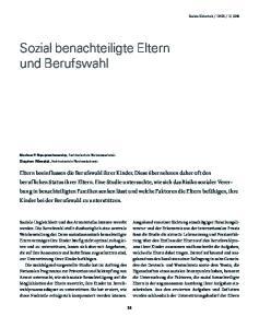 Sozial benachteiligte Eltern und Berufswahl