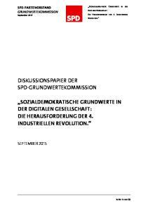 Sozialdemokratische Grundwerte in der Digitalen Gesellschaft: Die Herausforderung der 4. Industriellen Revolution