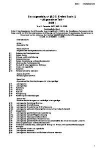 Sozialgesetzbuch (SGB) Erstes Buch (I) Allgemeiner Teil (SGB I)