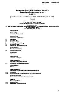 Sozialgesetzbuch (SGB) Sechstes Buch (VI) Gesetzliche Rentenversicherung (SGB VI)