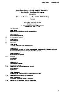 Sozialgesetzbuch (SGB) Siebtes Buch (VII) Gesetzliche Unfallversicherung (SGB VII)
