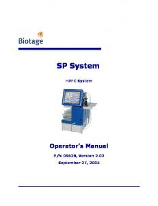SP System. HPFC System. Operator s Manual