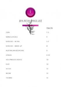 SPA RETAIL PRICE LIST