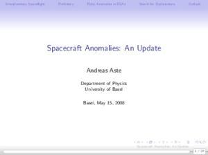 Spacecraft Anomalies: An Update