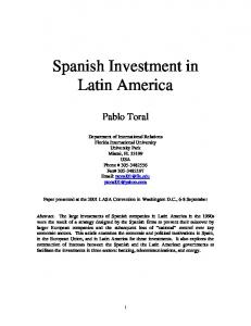 Spanish Investment in Latin America