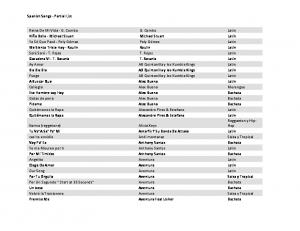 Spanish Songs - Partial List