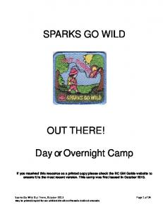 SPARKS GO WILD OUT THERE! Day or Overnight Camp