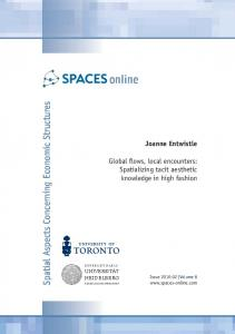 Spatial Aspects Concerning Economic Structures
