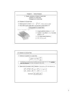 Spatial derivative of Scalar & Vector field: - Gradient of a Scalar field - Divergence of a vector field
