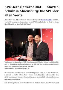 SPD-Kanzlerkandidat Schulz in Ahrensburg: Die SPD der alten Werte
