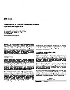 SPE Compendium of Electrical Submersible Pump Systems Testing Criteria