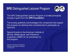 SPE Distinguished Lecturer Program