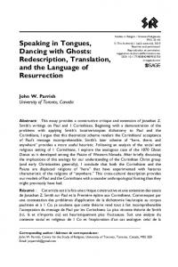 Speaking in Tongues, Dancing with Ghosts: Redescription, Translation, and the Language of Resurrection