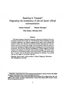 Speaking in Tongues? Diagnosing the consistency of central banks o cial communication