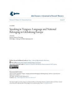 Speaking in Tongues: Language and National Belonging in Globalizing Europe