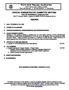 SPECIAL ADMINISTRATIVE COMMITTEE MEETING AGENDA