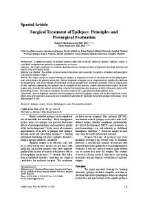 Special Article Surgical Treatment of Epilepsy: Principles and Presurgical Evaluation