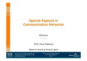 Special Aspects in Communication Networks
