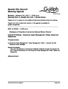Special City Council Meeting Agenda
