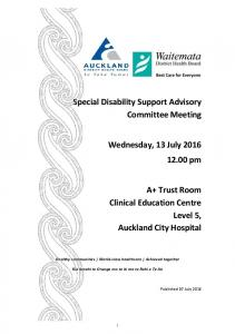 Special Disability Support Advisory Committee Meeting. Wednesday, 13 July pm