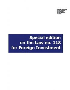 Special edition on the Law no. 118 for Foreign Investment