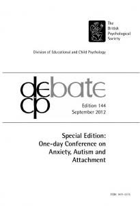 Special Edition: One-day Conference on Anxiety, Autism and Attachment