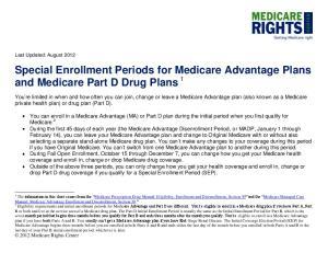 Special Enrollment Periods for Medicare Advantage Plans and Medicare Part D Drug Plans 1