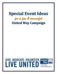 Special Event Ideas for a fun & successful. United Way Campaign