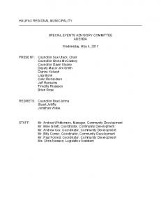 SPECIAL EVENTS ADVISORY COMMITTEE AGENDA. Wednesday, May 4, 2011