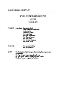 SPECIAL EVENTS ADVISORY COMMITTEE MINUTES. March 28, 2012