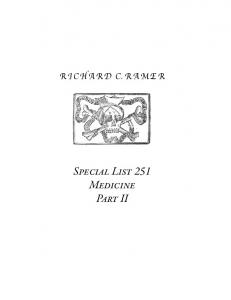 special list RICHARD C.RAMER Special List 251 Medicine Part II