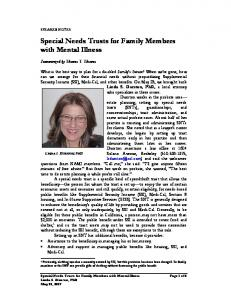 Special Needs Trusts for Family Members with Mental Illness