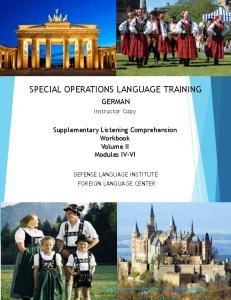 SPECIAL OPERATIONS LANGUAGE TRAINING