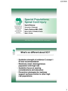 Special Populations: Spinal Cord Injury