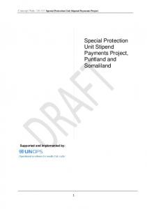 Special Protection Unit Stipend Payments Project, Puntland and Somaliland
