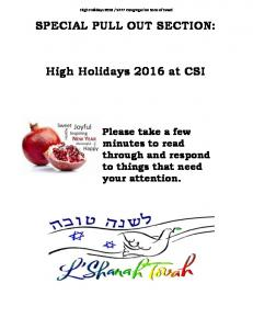 SPECIAL PULL OUT SECTION: High Holidays 2016 at CSI