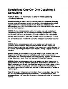 Specialized One-On- One Coaching & Consulting