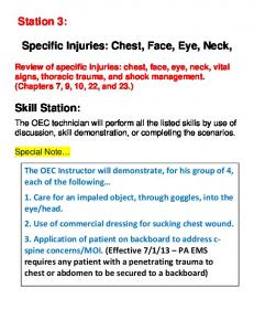 Specific Injuries: Chest, Face, Eye, Neck,