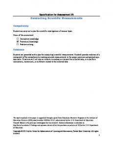 Specification for Assessment #5 Conducting Scientific Measurements