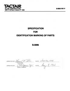 SPECIFICATION FOR IDENTIFICATION MARKING OF PARTS S-3006