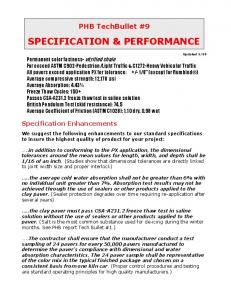 SPECIFICATION & PERFORMANCE