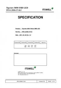 SPECIFICATION. Product : Topview 5050 Yellow SMD LED. Proposed By Checked By Checked By Checked By Approval